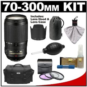 Nikon 70-300mm f/4.5-5.6G ED IF AF-S VR Digital SLR Zoom Lens with HB-36 Hood & Pouch Case + 3 UV/FLD/CPL Filters + Accessory Kit for D3000, D3100, D5000, D7000, D90, D300s, D700 & D3S DSLR