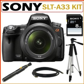 Sony Alpha SLTA33/L Digital SLR Camera with 18-55mm Lens and Translucent Mirror Technology + Sony 8GB SDHC Card Kit