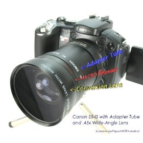 Wide-Angle Lens with Adapter Tube for Canon PowerShot S3is or S5is