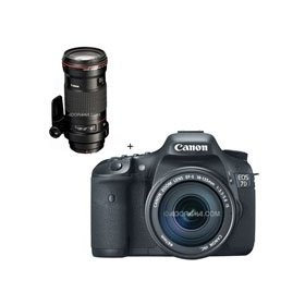 Canon EOS-7D Digital SLR Camera / Lens Kit, with Canon EF-S 18-135mm f/3.5-5.6 IS Auto Focus Lens, and EF 180mm f/3.5L Macro USM AutoFocus Telephoto Lens