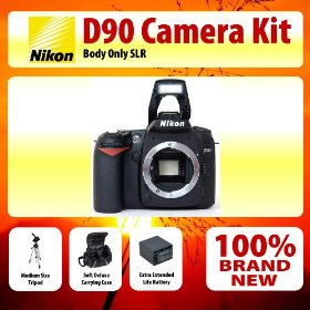 Nikon D90 SLR Digital Camera Kit + Medium Size Tripod + Soft Deluxe Carrying Case + Extra Extended Life Battery