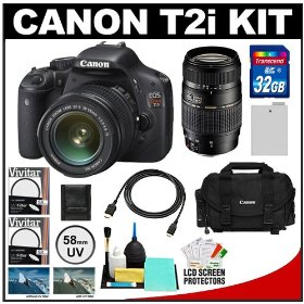 Canon EOS Rebel T2i Digital SLR Camera Body & EF-S 18-55mm IS Lens (Black) with Tamron 70-300mm Lens + 32GB Card + Battery + Canon 2400 DSLR Gadget Bag Case + HDMI Cable + Filters Kit