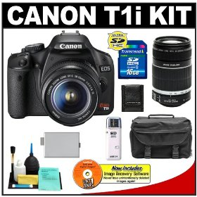 Canon EOS Rebel T1i 15.1MP Digital SLR Camera (Black) with Canon EF-S 18-55mm IS + 55-250mm f/4.0-5.6 Zoom Lens + 16GB Card + LP-E5 Battery + Case + Accessory Kit