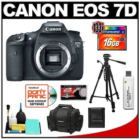 Canon EOS 7D Digital SLR Camera Body with 16GB Card + Tripod + Canon 2400 DSLR Gadget Bag Case + Accessory Kit