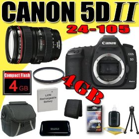 Canon EOS 5D Mark II 21.1MP Digital SLR Camera w/ EF 24-105mm f/4 L IS USM Lens DavisMAX LPE6 Battery UV 4GB Bundle
