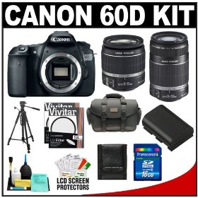 Canon EOS 60D Digital SLR Camera Body with 18-55mm IS & 55-250mm IS Lens + 16GB Card + Battery + Case + Tripod + Accessory Kit