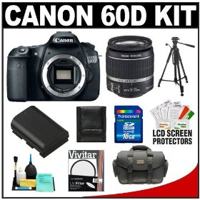 Canon EOS 60D Digital SLR Camera Body with 18-55mm IS Lens + 16GB Card + Battery + Case + Tripod + Accessory Kit
