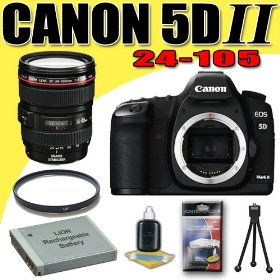 Canon EOS 5D Mark II 21.1MP Digital SLR Camera w/ EF 24-105mm f/4 L IS USM Lens DavisMAX LPE6 Battery UV Bundle