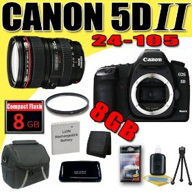 Canon EOS 5D Mark II 21.1MP Digital SLR Camera w/ EF 24-105mm f/4 L IS USM Lens DavisMAX LPE6 Battery UV 8GB Bundle