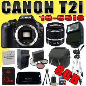 Canon EOS Rebel T2i 18 MP CMOS APS-C Digital SLR Camera w/ EF-S 18-55mm f/3.5-5.6 IS Lens DavisMAX LPE8 Battery/Charger Filter Kit Flash Tripod 8GB Bundle