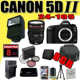 Canon EOS 5D Mark II 21.1MP Digital SLR Camera w/ EF 24-105mm f/4 L IS USM Lens DavisMAX LPE6 Battery/Charger Filter Kit External Flash 8GB Bundle