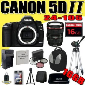 Canon EOS 5D Mark II 21.1MP Digital SLR Camera w/ EF 24-105mm f/4 L IS USM Lens DavisMAX LPE6 Battery/Charger Filter Kit Tripod 16GB deluxe BackPack Bundle