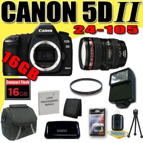 Canon EOS 5D Mark II 21.1MP Digital SLR Camera w/ EF 24-105mm f/4 L IS USM Lens DavisMAX LPE6 Battery UV External Flash 16GB Bundle