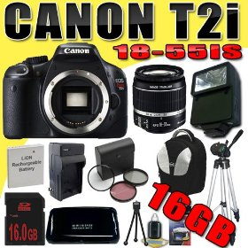 Canon EOS Rebel T2i 18 MP CMOS APS-C Digital SLR Camera w/ EF-S 18-55mm f/3.5-5.6 IS Lens DavisMAX LPE8 Battery/Charger Filter Kit External Flash Tripod 16GB Backpack Bundle
