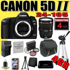 Canon EOS 5D Mark II 21.1MP Digital SLR Camera w/ EF 24-105mm f/4 L IS USM Lens DavisMAX LPE6 Battery/Charger Filter Kit Tripod 4GB Bundle