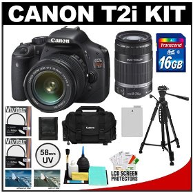 Canon EOS Rebel T2i Digital SLR Camera Body & EF-S 18-55mm IS Lens (Black) with 55-250mm IS Lens + 16GB Card + Battery + Canon 2400 DSLR Gadget Bag Case + Tripod + Filters + Accessory Kit