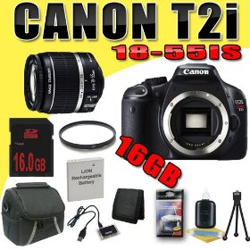 Canon EOS Rebel T2i 18 MP CMOS APS-C Digital SLR Camera w/ EF-S 18-55mm f/3.5-5.6 IS Lens DavisMAX LPE8 Battery UV 16GB Bundle