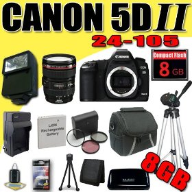 Canon EOS 5D Mark II 21.1MP Digital SLR Camera w/ EF 24-105mm f/4 L IS USM Lens DavisMAX LPE6 Battery/Charger Filter Kit External Flash Tripod 8GB Bundle