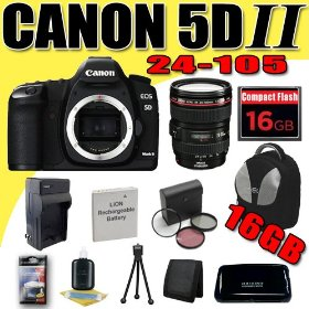 Canon EOS 5D Mark II 21.1MP Digital SLR Camera w/ EF 24-105mm f/4 L IS USM Lens DavisMAX LPE6 Battery/Charger Filter Kit 16GB Backpack Bundle