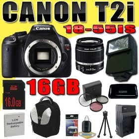 Canon EOS Rebel T2i 18 MP CMOS APS-C Digital SLR Camera w/ EF-S 18-55mm f/3.5-5.6 IS Lens DavisMAX LPE8 Battery/Charger Filter Kit External Flash 16GB Backpack Bundle