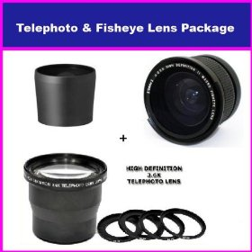 3.6X HD Professional Telephoto lens & 0.35x HD Super Wide Angle Panoramic Macro Fisheye Lens For Kodak EasyShare Z7590 DX7590 DX6490
