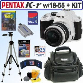 Pentax K-r 12.4 MP Digital SLR Camera with 18-55mm f/3.5-5.6 Lens (White) + 16GB Deluxe Accessory Kit