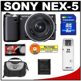 Sony Alpha NEX-5 Digital Camera Body & E 16mm f/2.8 Compact Interchangeable Lens (Black) with 8GB Card + Battery + Case + Accessory Kit