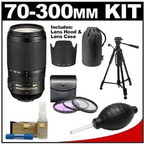 Nikon 70-300mm f/4.5-5.6G ED IF AF-S VR Digital SLR Zoom Lens with HB-36 Hood & Pouch Case + Tripod + 3 UV/FLD/CPL Filters + Cleaning Kit for D3000, D3100, D5000, D7000, D90, D300s, D700 & D3S DSLR