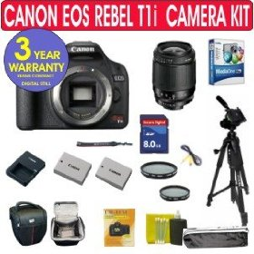 Canon EOS Rebel T1i 15.1 MP Digital SLR Camera + Tamron 28-80mm Zoom Lens + UV Filter + PL Filter + High Speed 4 GIG Memory Card + Extra High Capacity Battery + Holster Case + 11 Piece Camera Kit + 3 Year Celltime Warranty Repair Package