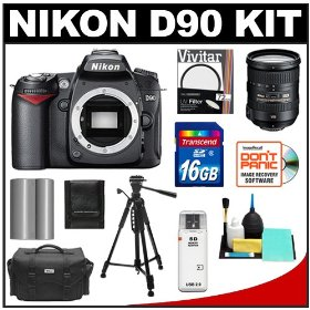 Nikon D90 Digital SLR Camera Body & 18-200mm VR II Lens with 16GB Card + Battery + 72mm Glass Filter + Case + Tripod + Accessory Kit