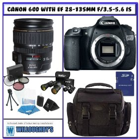 Canon EOS 60D 18MP CMOS Digital SLR Camera (Body) with 3.0-Inch LCD & Canon EF 28-135mm f/3.5-5.6 IS USM Lens PLUS Exclusive Willoughby's Bundle Offer Pack # 1