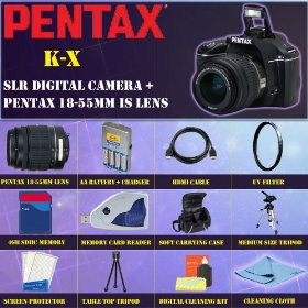 Pentax K-x Digital SLR (Black) with Pentax 18-55mm Lens + PREMIUM STARTER PACKAGE INCLUDING 4GB SDHC MEMORY CARD + MEMORY CARD READER + HDMI CABLE + UV FILTER + EXTENDED LIFE BATTERY + SOFT CARRYING CASE + TRIPOD & MUCH MORE !!!