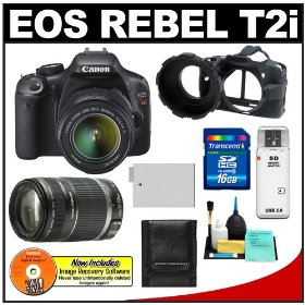 Canon EOS Rebel T2i 18.0MP Digital SLR Camera & EF-S 18-55mm IS & EF 55-250mm IS Zoom Lens with 16GB Card + Battery + Camera Armor Case + Accessory Kit