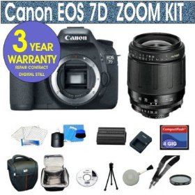 Canon EOS 7D 18 MP Digital SLR Camera with Tamron 28-80mm Zoom Lens + UV Filter + 4 GIG Memory Card + Holster Case + 6 Piece Starter Kit + 3 Year Celltime Warranty Repair Package