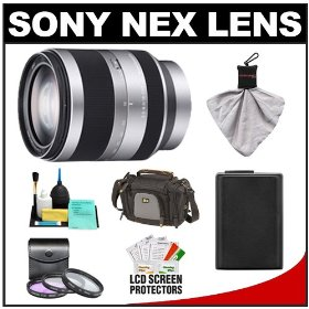 Sony Alpha NEX E-Mount E 18-200mm f/3.5-6.3 OSS Zoom Lens with NP-FW50 Battery + Case + 3 UV/FLD/CPL Filters + Accessory Kit for NEX-3 & NEX-5 Digital Cameras