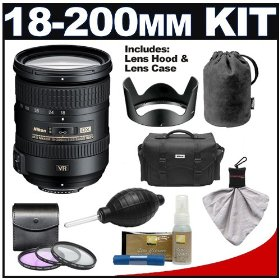 Nikon 18-200mm f/3.5-5.6G AF-S VR II ED Lens with HB-35 Hood & Pouch Case + Nikon Case + 3 UV/FLD/CPL Filters + Cleaning Kit for Nikon D60, D90, D3000, D3100, D5000, D7000, D300S, D700 & D3S Digital SLR Cameras