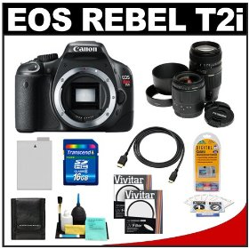 Canon EOS Rebel T2i Digital SLR Camera + 28-80mm & 70-300mm Zoom Lens + 16GB Card + Battery + UV Filters + Accessory Kit