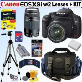 Canon Digital Rebel XSi 12MP Digital SLR Camera (Black) with EF-S 18-55mm f/3.5-5.6 IS Lens & EF 75-300mm f/4-5.6 III