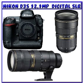 Nikon D3S 12.1 MP CMOS Digital SLR Camera + Nikon 24-70mm f/2.8G ED AF-S Nikkor Wide Angle Zoom Lens + Nikon 70-200mm f/2.8G ED VR II AF-S NIKKOR Lens For Nikon Digital SLR Cameras