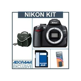 Nikon D5000 DX-Format Digital SLR Camera Body - Refurbished - by Nikon U.S.A. with 4GB SD Memory Card, Spare EN-EL9 Lithium-Ion Rechargeable Battery, Camera System Bag