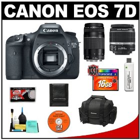 Canon EOS 7D Digital SLR Camera Body + Canon 18-55mm IS Lens + Canon 75-300mm III Lens + 16GB Card + Canon 2400 DSLR Gadget Bag Case + Accessory Kit