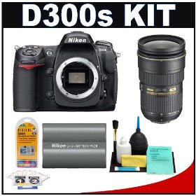 Nikon D300s Digital SLR Camera + 24-70mm f/2.8G AF-S Lens + Nikon EN-EL3e Battery + Cleaning Kit