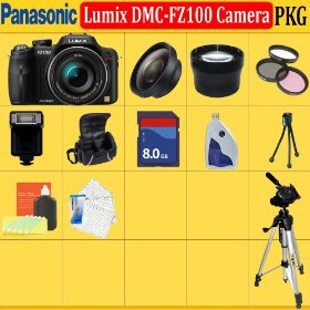 Panasonic Lumix Dmc-fz100 Digital Camera (Includes Manufacturer's Supplied Accessories) + Huge Accessories Package Including Wide Angle Macro Lens + 2x Telephoto + 3 Pc Filter Kit + 8gb Sdhc Memory Card + Soft Carrying Case + Tripod & Much More !!
