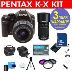 Pentax K-X 12.4 MP Digital SLR Camera with 18-55mm Lens & 55-300mm Lens + 4 GB Memory Card + 6 Piece Accessory Kit + Camera Holster Case + Multi-Coated Glass UV Filter + 3 Year Warranty Repair Contract