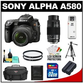 Sony Alpha DSLR-A580 16.2 MP Digital SLR Camera with 18-55mm Lens & 75-300mm Lens + 32GB Card + Battery + Case + UV Filters + Tripod + Accessory Kit