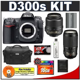 Nikon D300s Digital SLR Camera + 18-55mm + 70-300mm VR Zoom Lens + 16GB Card + EN-EL3e Battery + Case + Cameta Bonus Accessory Kit
