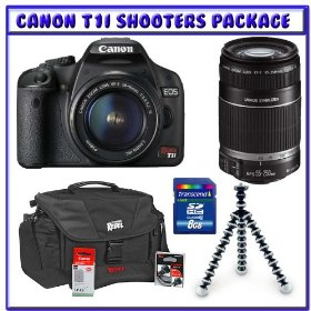 Canon Rebel T1i Digital SLR w/ EF-S 18-55mm IS Lens + Canon EF-S 55-250mm IS Lens + UV Filters + 8GB SD + Joby Gorillapod + Canon LP-E5 + Canon Rebel Carrying Case