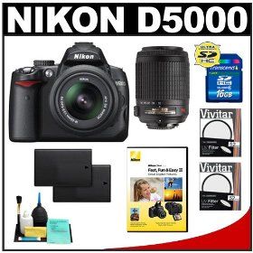 Nikon D5000 Digital SLR Camera w/ 18-55mm VR Lens + 55-200mm Zoom Lens + UV Filter + 16GB Card + (2x) Batteries + Cameta Bonus Accessory Kit