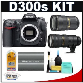Nikon D300s Digital SLR Camera + 24-70mm f/2.8G AF-S Lens + 70-200mm f/2.8G II VR + Nikon EN-EL3e Battery + Cleaning Kit