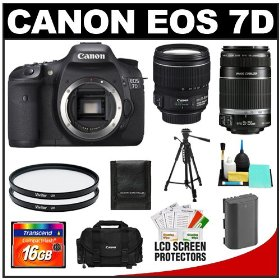 Canon EOS 7D 18.0 MP Digital SLR Camera Body (Outfit Box) & EF-S 15-85mm IS USM and EF-S 55-250mm IS Lenses with 16GB Card + Battery + Case + Tripod + UV Filters + Cleaning Accessory Kit